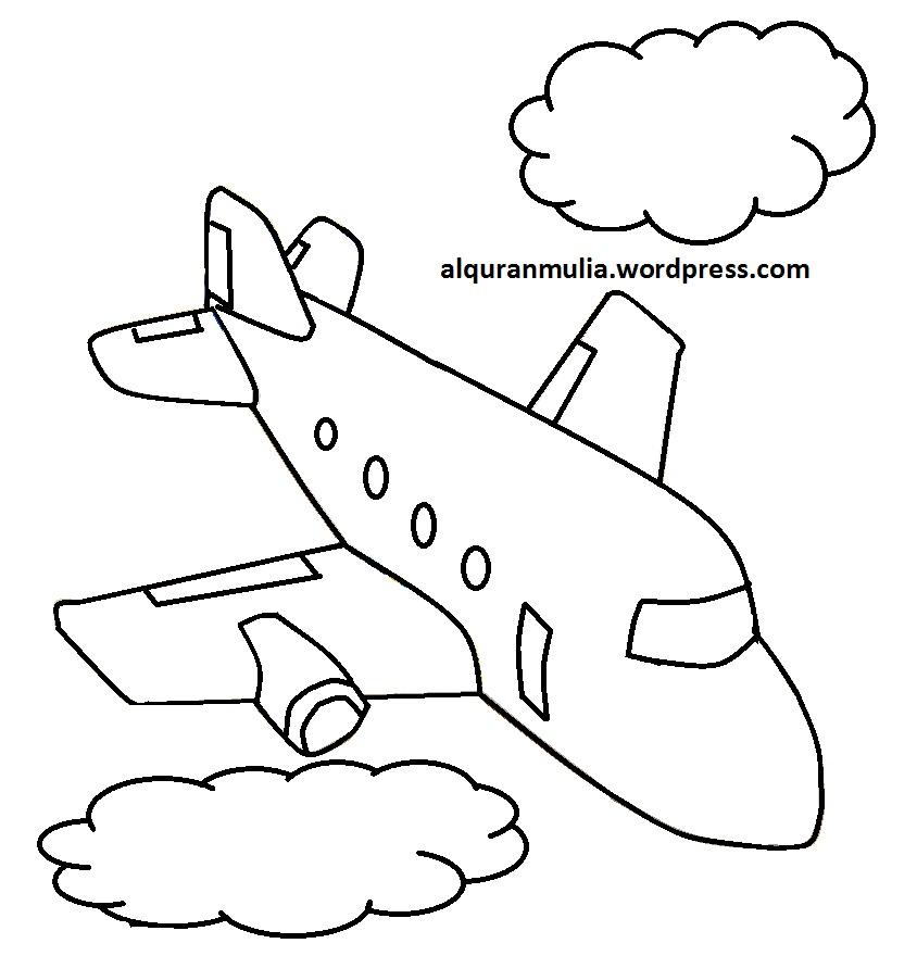 Mewarnai Gambar Pesawat Terbang 24 Anak Muslim Alquranmulia