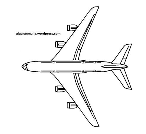 Mewarnai gambar pesawat terbang25 anak muslim