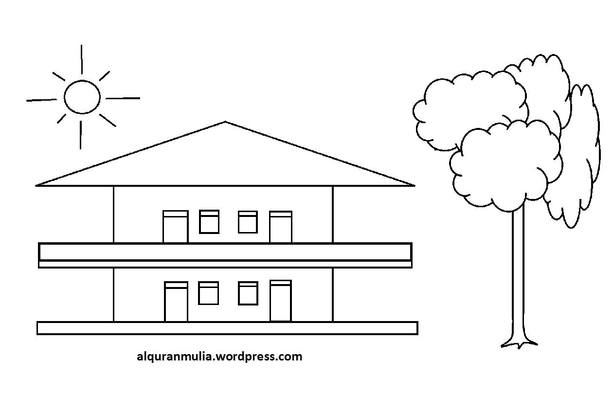 Mewarnai Gambar Rumah 4 Anak Muslim