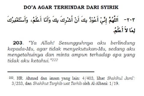 doa agar terhindar dari syirik