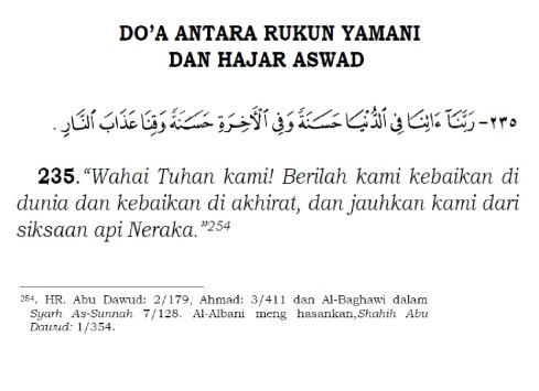 doa antara rukun yamani dan hajar aswad
