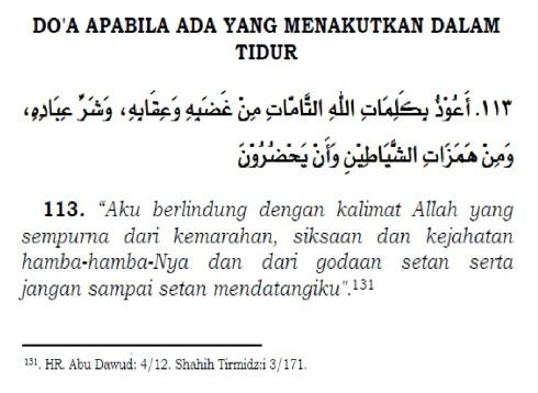 doa apabila ada yang menakutkan dalam tidur