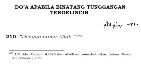 doa apabila binatang tunggangan tergelincir