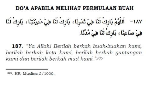 doa apabila melihat permulaan buah