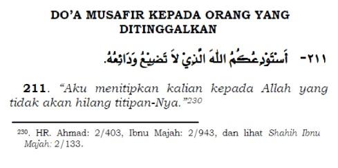 doa musafir kepada orang yang ditinggalkan