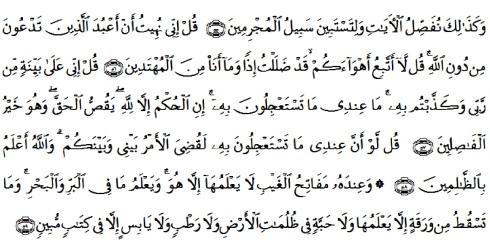 tulisan arab alquran surat al an'am ayat 55-59