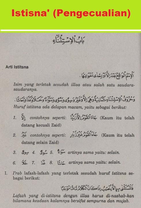belajar bahasa arab ilmu nahwu -bab istisna' -pengecualian 1