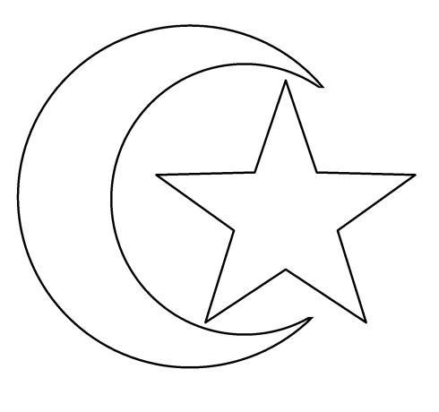 Mewarnai gambar bulan-bintang anak muslim