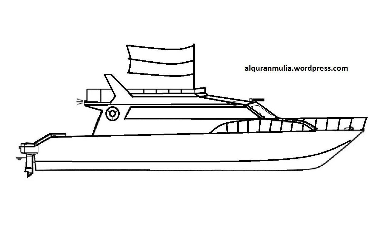 Mewarnai Gambar Kapal Laut 5 Anak Muslim Alqur Anmulia