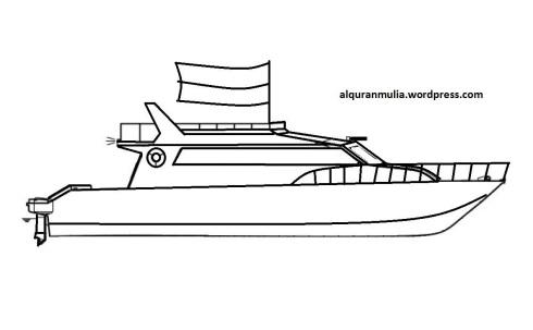 Mewarnai gambar kapal laut 5 anak muslim