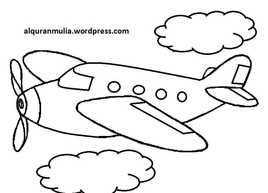 Mewarnai Gambar Pesawat Terbang 34 Anak Muslim Alqur Anmulia