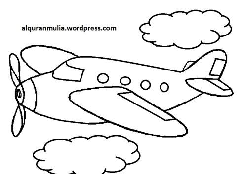 Mewarnai gambar pesawat terbang34 anak muslim