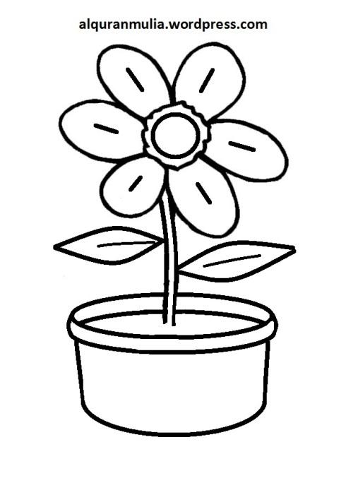 Mewarnai Gambar Bunga Anak Muslim 1