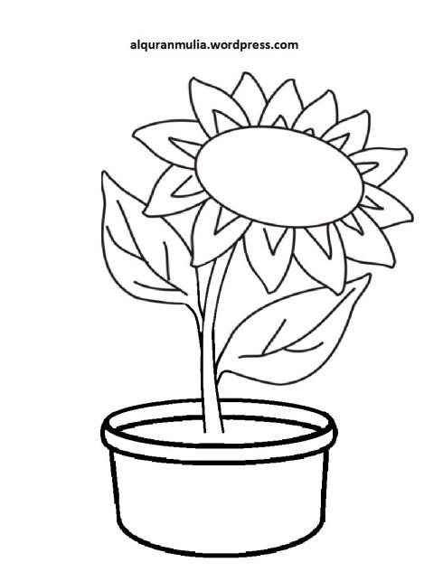 Mewarnai Gambar Bunga Anak Muslim 10