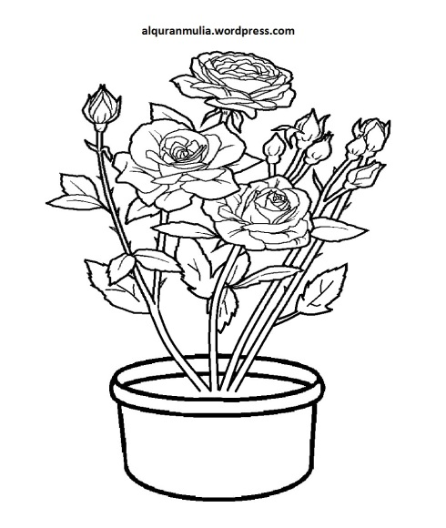 Mewarnai Gambar Bunga Anak Muslim 12