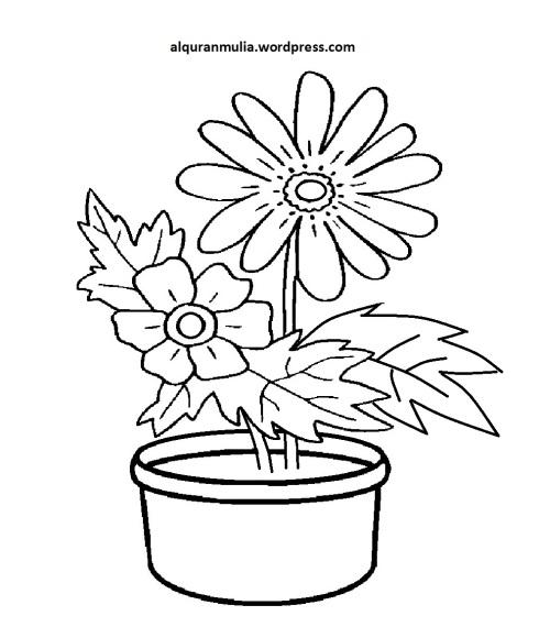 Mewarnai Gambar Bunga Anak Muslim 13