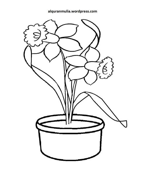 Mewarnai Gambar Bunga Anak Muslim 14