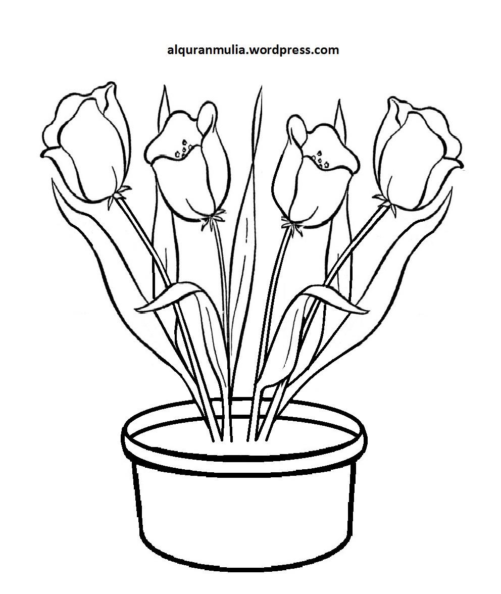 Mewarnai Gambar Bunga Anak Muslim 16