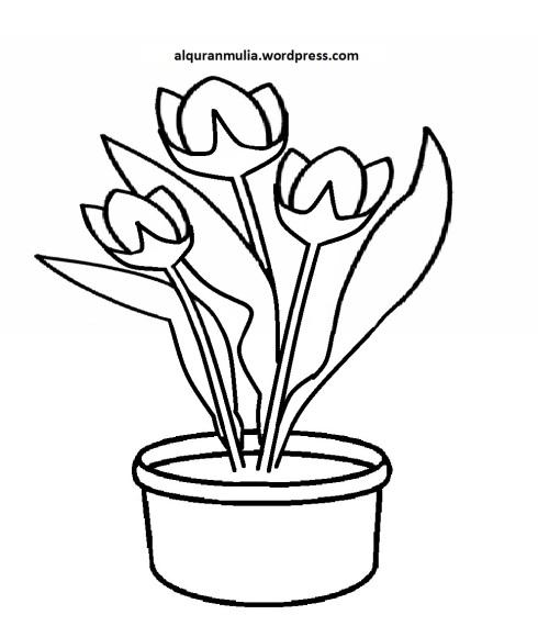 Mewarnai Gambar Bunga Anak Muslim 18