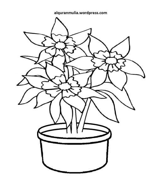 Mewarnai Gambar Bunga Anak Muslim 19
