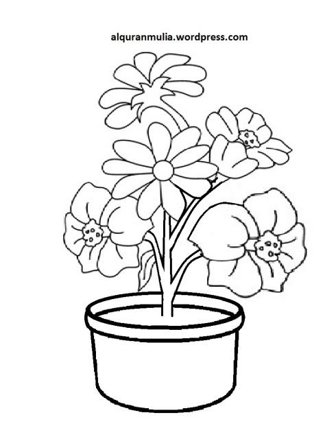 Mewarnai Gambar Bunga Anak Muslim 24