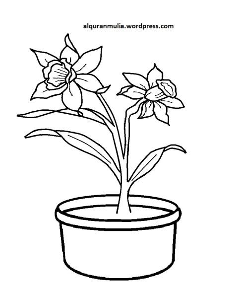 Mewarnai Gambar Bunga Anak Muslim 26
