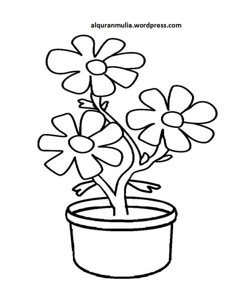 Mewarnai Gambar Bunga Anak Muslim 27