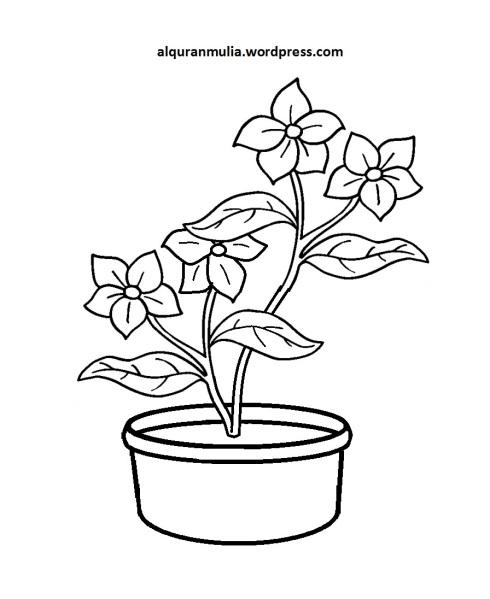 Mewarnai Gambar Bunga Anak Muslim 3