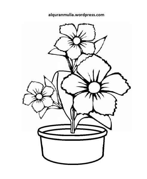 Mewarnai Gambar Bunga Anak Muslim 4