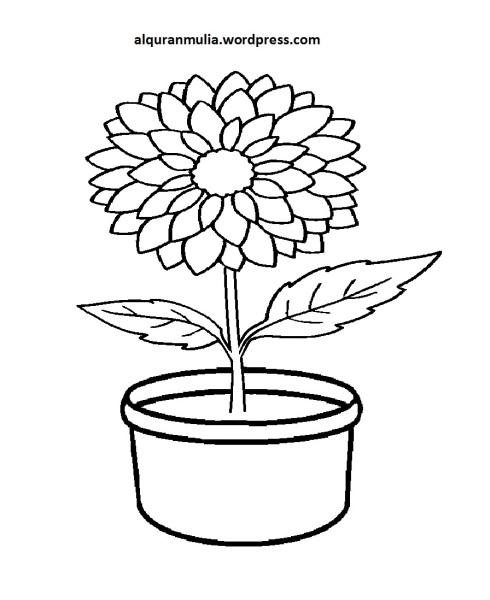 Mewarnai Gambar Bunga Anak Muslim 6