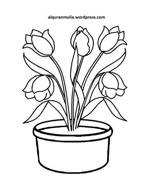 Mewarnai Gambar Bunga Anak Muslim 8