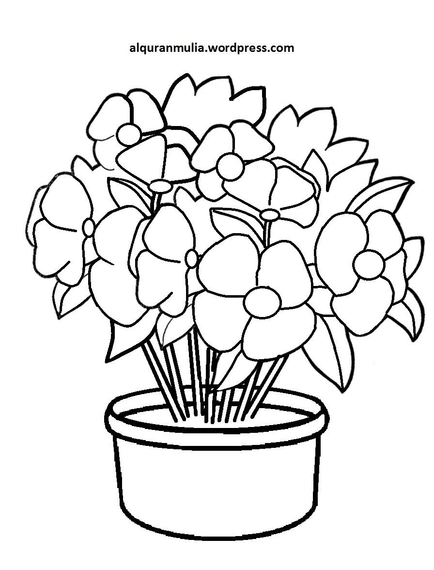 Mewarnai Gambar Bunga Anak Muslim 9