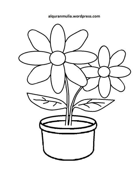 Mewarnai Gambar Bunga Anak Muslim 28