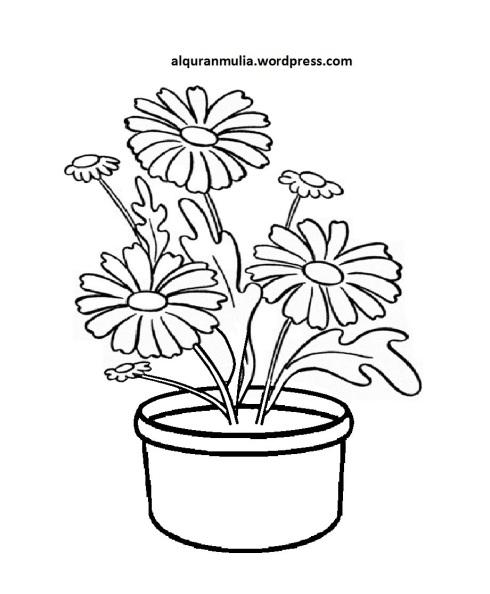Mewarnai Gambar Bunga Anak Muslim 29