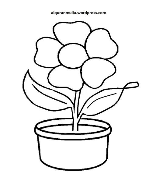 Mewarnai Gambar Bunga Anak Muslim 34
