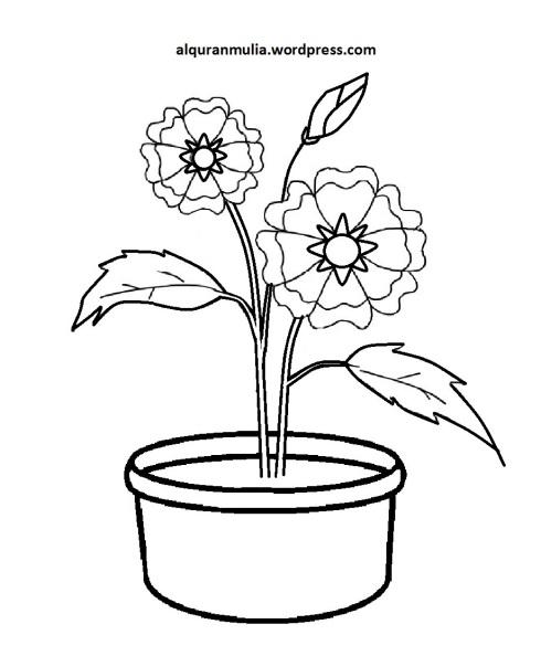 Mewarnai Gambar Bunga Anak Muslim 35