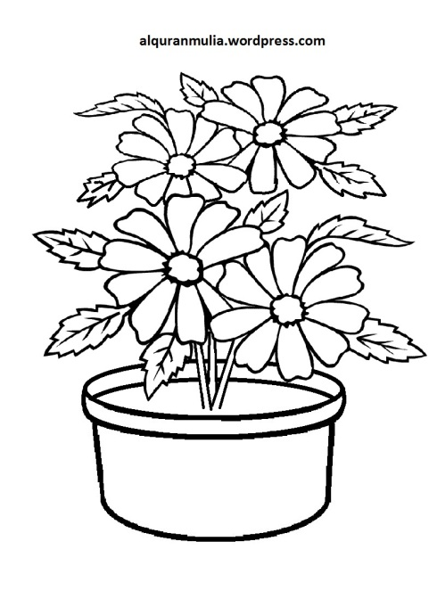 Mewarnai Gambar Bunga Anak Muslim 38