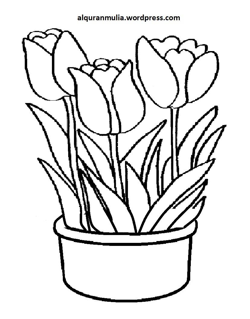 Mewarnai Gambar Bunga Anak Muslim 39