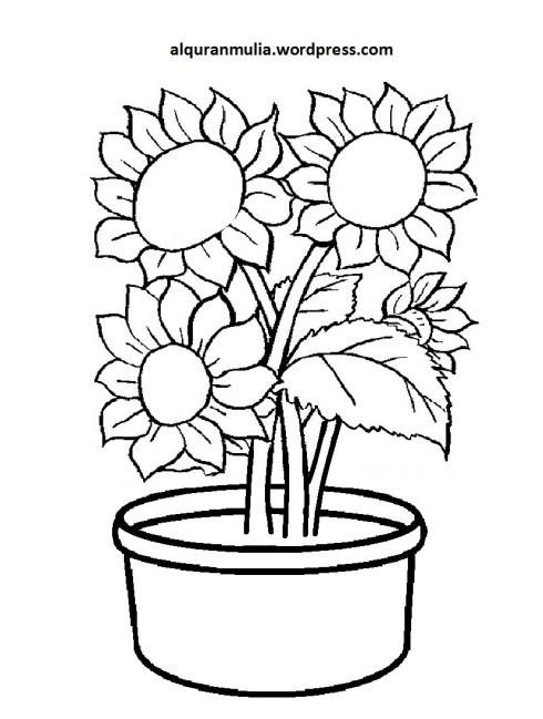 Mewarnai Gambar Bunga Anak Muslim 40