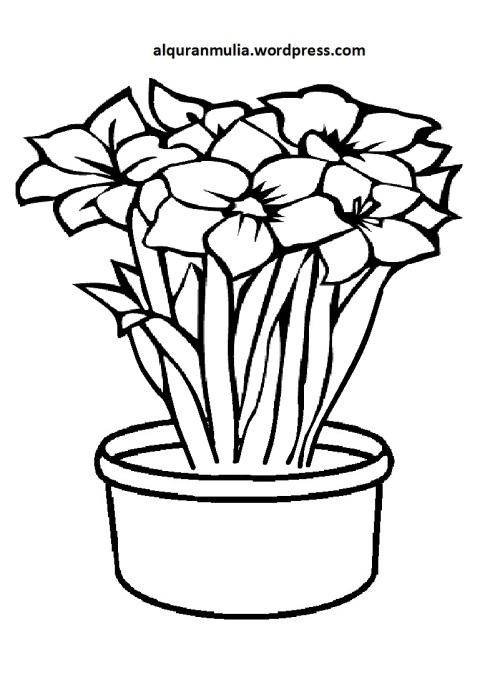 Mewarnai Gambar Bunga Anak Muslim 41