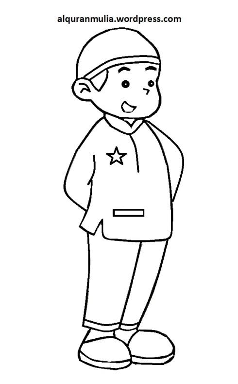 Mewarnai gambar kartun anak muslim 40