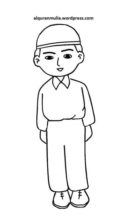 Mewarnai gambar kartun anak muslim 41