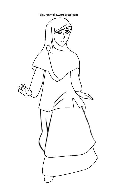 Mewarnai gambar kartun anak muslimah 112