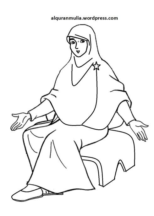 Mewarnai gambar kartun anak muslimah 113