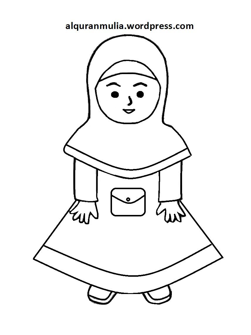 Mewarnai Gambar Kartun Anak Muslimah 114 Alqur Anmulia