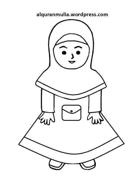 Mewarnai gambar kartun anak muslimah 114
