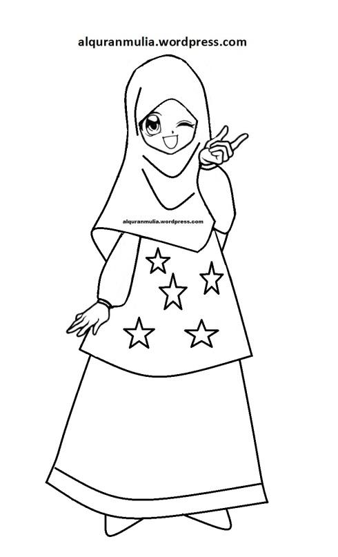 Mewarnai gambar kartun anak muslimah 115