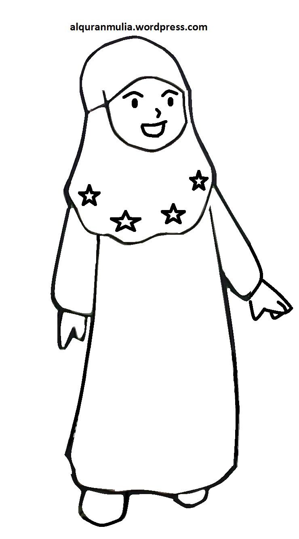 Mewarnai Gambar Kartun Anak Muslimah 116 Alqur Anmulia