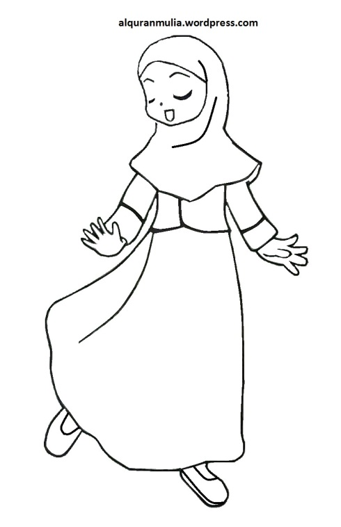 Mewarnai gambar kartun anak muslimah 117