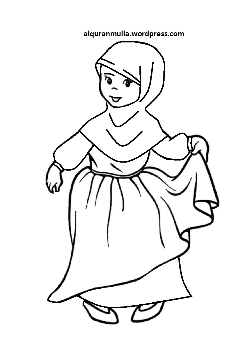 Mewarnai Gambar Kartun Anak Muslimah 120